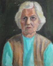 IMPRESSIONIST OLD LADY PORTRAIT VINTAGE OIL PAINTING