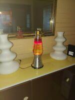 Original 1970's Lava Lite Lamp Century Starlite Red Wax Gold Top Cone Base