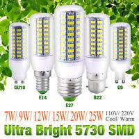 5 PCS Bright E27 E14 5730 SMD LED Corn Bulb Lamp Light White AC 110V/220V