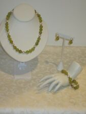 Vintage Jade & Pearl Parue Set- Necklace/Bracelet/Earrings 14K