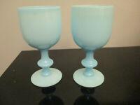 2 Vintage Portieux Vallerysthal French Blue Opaline Milk Glass Wine Goblets stem