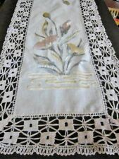 Antique ART DECO Runner Scarf~Silk Society  Embroidery~Chunky Bobbin Lace