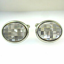 Mother of Pearl Cufflinks Vintage Silver Tone Mosaic Tile