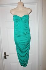 Ladies Green Stretchy Miss Selfridge Dress Size 12 Strapless Evening Party Frock