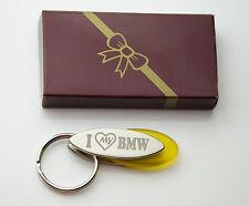 Personalised I LOVE MY BMW Design keyring BOXED engraved Free - Metal Key ring