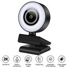 2K Full HD USB Web Camera Webcam w/Ring Light+Mic for Video Calling Conferencing
