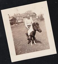 Vintage Antique Photograph Man Riding On Tiny Pony Miniature Horse in Yard