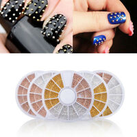 3D Gold Silver Rivet Metal Balls Beads Nail Art Tips Decoration Manicure Wheel