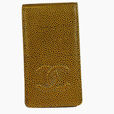 Auth CHANEL CC Quilted Smart Phone Case Leather Bronze Italy Accessory 02B1320