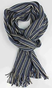 Wollschal Strickschal Streifen modisch blau 100% Wolle (Merino)