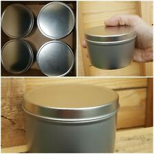Lot of 4 @ 16OZ Seamless Aluminum Tins for Spice, Candles, Tobacco | Storage Can