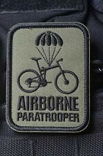 Airborne Paratrooper Bike Parachute Embroider Hk/Lp Patch GREEN 82nd 101st HALO