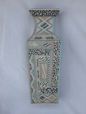 Tall rectangular - section Pottery Vase - Handpainted for Next