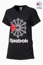 NEW Reebok Classic T-shirt Tee Black Womens Girls Size M 12-14
