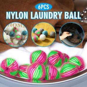 6Pcs Reusable Hair Lint Fluff Grabbing Removal Washing Machine Ball Dryer Balls
