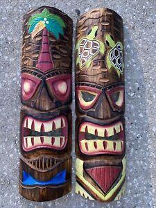 "SET OF 2 20"" TIKI MASK HAWAIIAN WALL ART ISLAND HOME DECOR TRIBAL BAR TROPICAL"
