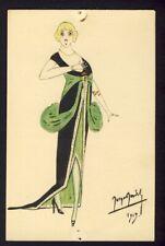 Handmade drawn/painted Art Deco woman singing - artist signed 1915