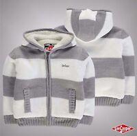 Infant Boys Designer Lee Cooper Full Zip Stripe Lined Knit Jacket Size Age 2-6