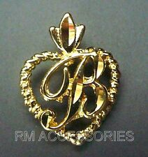 B Charm Cursive Script Initial Letter in Heart Pendant EP Gold Plated Guaranteed