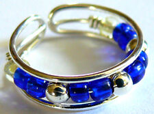 BAGUE DE PIED/ORTEIL METAL ANNEAU TOE RING ANILLO DE PIE STRASS perles bleu