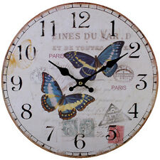 Vintage Style Shabby Chic Paris Butterfly Wall Clock - NEW IN BOX