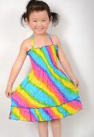 Sunny Fashion Girls Dress Smocked Halter Rainbow Party Age 2-10