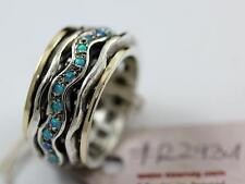 Silver  and curved cz 2931   opal spinning ring Israeli  size 6-7 unique SEANOY