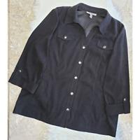 JM Collection Women Faux Suede Jacket Career Snap Front Pockets Black Sz 18 EUC