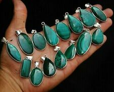 Malachite Gemstone 5 pcs Wholesale Lots 925 Sterling Silver Plated Pendant