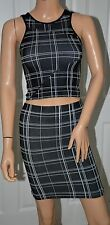 BCBGenration Geo Printed Seamless Crop Top and Skirt Set Suit sz S