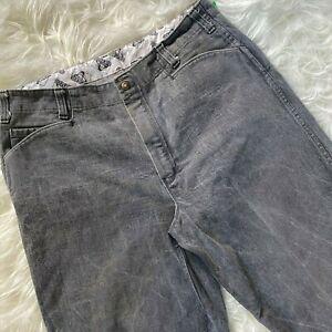 Vintage Ben Davis Pants Size 38 Gray Gorilla Cut Tapered Leg Work Denim