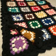 "LARGE VINTAGE HAND CROCHETED AFGHAN! COLORFUL SQUARES  80"" X  52"""