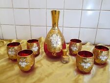 Vintage Venetian Murano Glass! Ruby & Gold Flower Decanter Set!