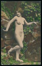 French full nude nudist wild woman original 1920s tinted color photo postcard