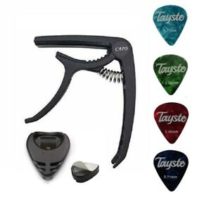 GUITAR CAPO - QUICK RELEASE CLAMP - ACOUSTIC ELECTRIC + 4 PICKS + FREE HOLDER