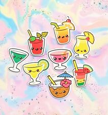 30 Pack Paper Kawaii Cocktail Drinks Stickers