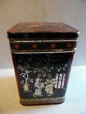 """Vintage Tin Canisters Asian Design Red Gold & Black made in England  8 1/2"""" Tall"""
