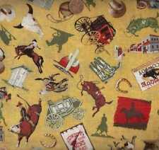 Home on the Range yellow retro cowboys horses stagecoach western fabric
