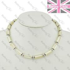"""MOP SHELL BEADS silver tone COLLAR NECKLACE 17""""short mother of pearl choker"""