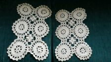 """Vintage ~ 2 Crochet Doilies ~ Ivory ~ 8 1/2"""" x 14"""" and 7 1/2"""" x 13"""""""