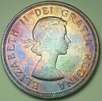 1964 CANADA 1 ONE SILVER DOLLAR PROOF LIKE UNC PURPLE COLOR GEM TONED (DR)