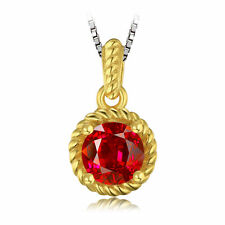 1ct Created Ruby Necklace Pendant Gold Plated Solid Sterling Silver Special Gift
