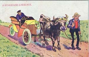 DB comic postcard 1908, artist signed, horseless carriage, bull pulling car