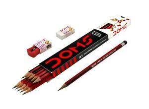 50 Doms A1 Deep Dark Graphite Pencil | free sharpener eraser | for dark Writing