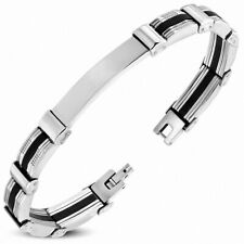 Bracelet Stylish Watch Engravable Stainless Steel with Rubber Black 2 Gold-Tone