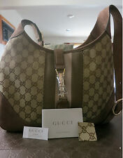 Brand New NWT Authentic GUCCI JACKIE ORIGINAL GG CANVAS HOBO W/ ADJUSTABLE CROSS