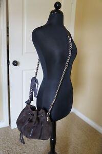 NEW Tylie Malibu Bohemian Drawstring Hobo Shoulder Bag Long Chain Strap Brown