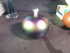 Robert Coleman Iridescent Art Glass Oil Candle Lamp Signed RC
