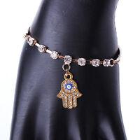 Fashion Gold Hamsa Bracelet - Hand Fatima Evil Eye Khamsa Bangle Amulet Charm