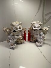 Vintage Pair Of Porcelain Foo Dogs .